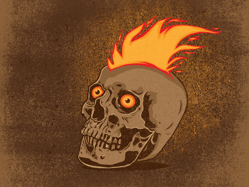 Flaming skull distress photoshop illustration majkol flame skull