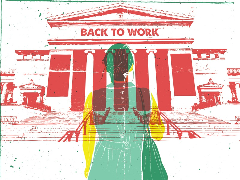 Back to Work girl museum majkol illustration vector vintage poster