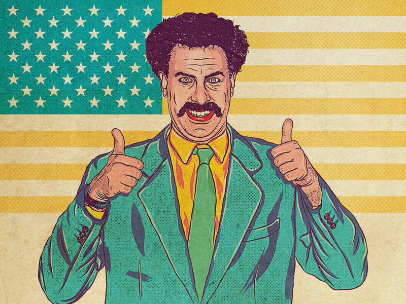 Borat photoshop portrait illustration majkol vintage vector borat