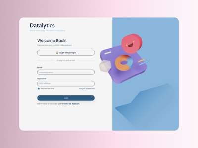 Login page for Data Analytic startup analytics data analytics uiux welcome page signup login