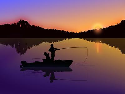 Evening fishing закат вечер озеро illustration fishing