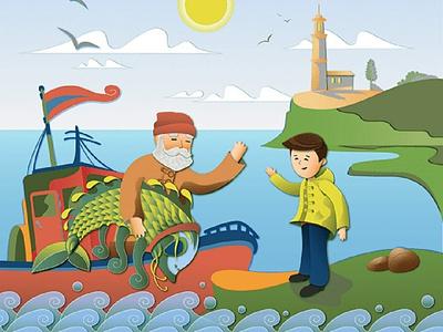 Fisherman's Day лодка море отец рыба чудо illustration fishing