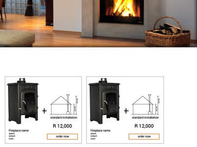 Fireplace sales & installations website sketch webdesign responsive usability business website