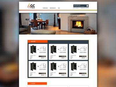 Refined homepage for fireplace sales & installations website webdesign responsive usability business website