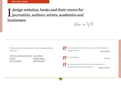 Niek de Greef home-page website portfolio branding personal