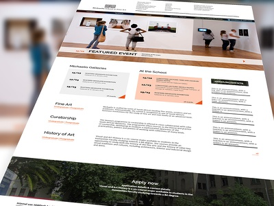 Fine Art school redesign - first drafts, home artschool education webdesign