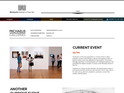 Galleries page artschool education webdesign gallery