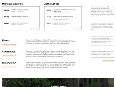 Detail of home page for art school artschool education webdesign