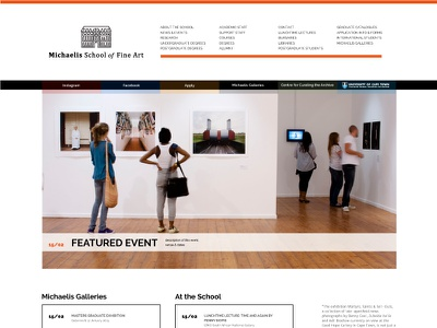 Fine Art school redesign - home page artschool education webdesign