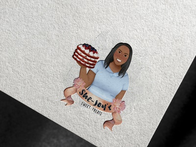 Feminine Watercolor with Disney Character  Style Logo website animation vector design afro black woman bakery logo bakery cake shop disney feminine fiverr illustration branding logo