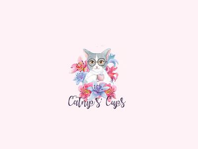 CuteCat and cup tea feminine logo cat logo branding watercolor illustration flower illustration flower logo feminine