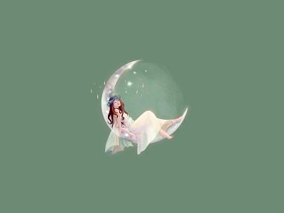 Fairy Moon watercolor feminine logo beauty salon fairy tales moon feminine design illustraion feminine logo flower logo logo design branding boutique beauty logo logodesign design feminine goddess fairy tale magic logo