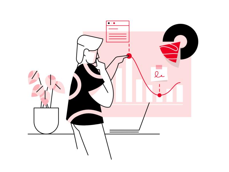 Data analysis- illustration flat webpage clean affinity designer simple character illustration vector