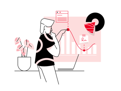 Data analysis- illustration flat webpage clean affinity designer simple character illustration vector