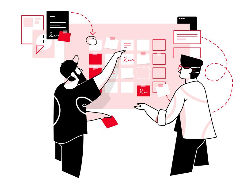 Design Sprint - Illustration affinity designer simple character vector sticky notes design agency team work to do list design