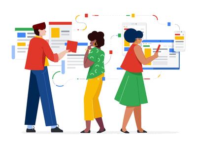 Content marketing - illustration marketing woman google clean affinity designer character illustration vector