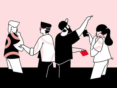 Team affinity designer characters flat illustraion teamwork linear team