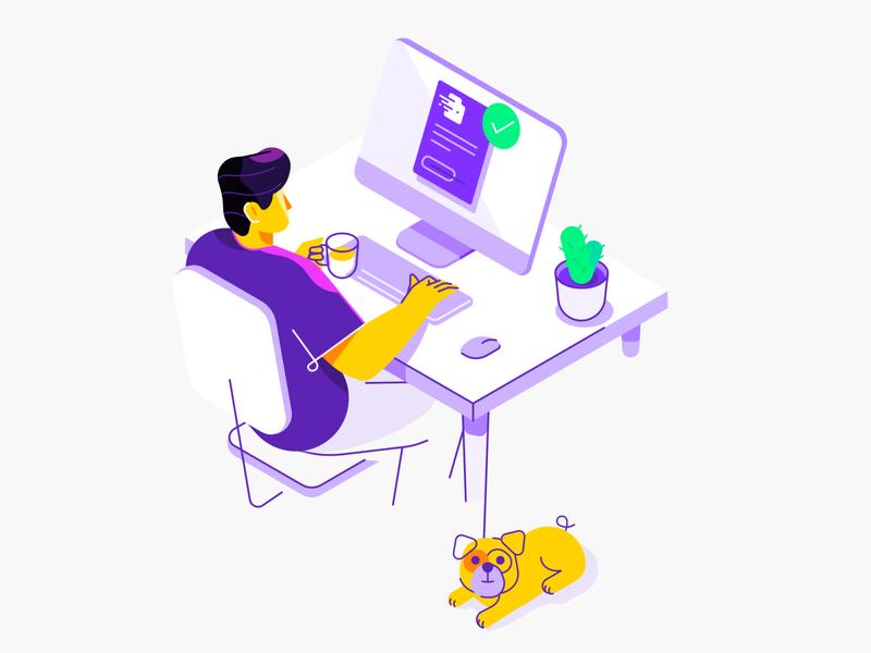 Invoice Generator - illustration isometric pug workspace desk character illustration vector