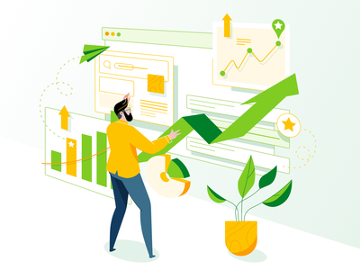 Grow your business affinity designer simple characterdesign stats illustrator hero image marketing charts illustration seo