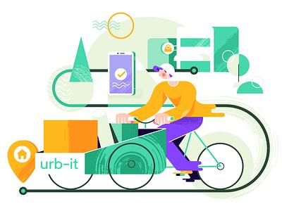 Cargo bike courier delivery geometric character city urban bike cargo bike