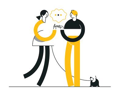 Conversation geometric couple dog clean simple illustration vector