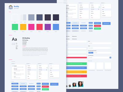 Part of the new Style Guide ui elements interface style guide avatar colors forms dropdown buttons font