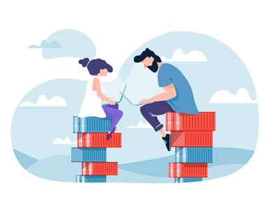 Develop with docker - extended version man woman vector simple guy lady docker developers container