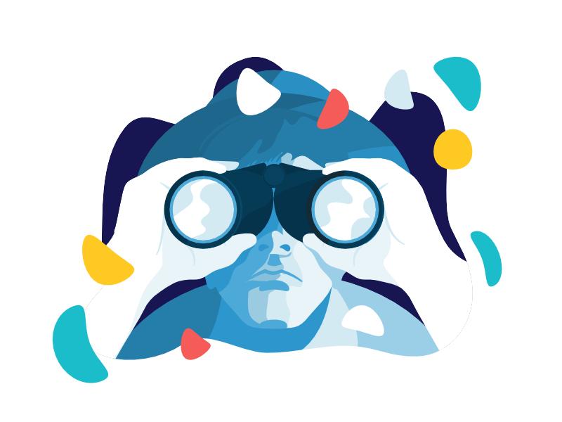Binoculars character binoculars simple vector docker developers