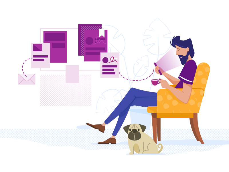 Looking for a job pug simple webpage character illustration vector