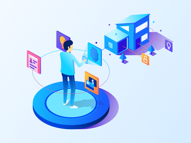 Biometrics - Isometric Illustration iot house biometrics isometric blockchain