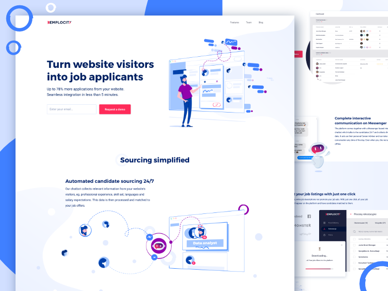 Emplocity - Landing page social media landing page website web uxdesign ux uidesign ui marketing illustration clean emblemo