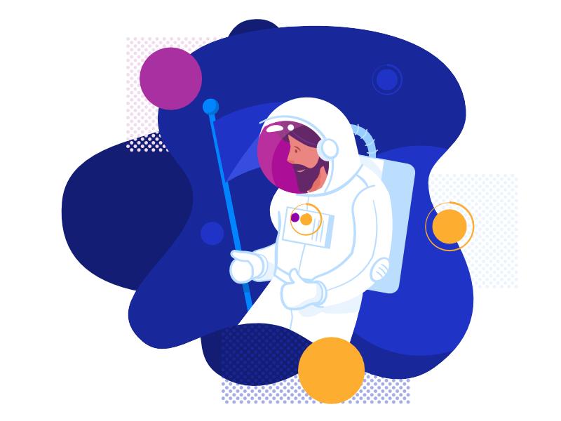 Spaceman character space simple vector cosmonaut spaceman emblemo