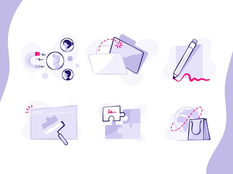 Features - Illustrations prestshop shop puzzle icon global edit price design simple webpage file vector
