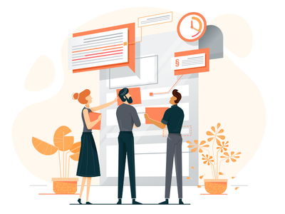 Building and organizing a contract - Illustrations team doc lawyer plant pattern agreement character illustration vector