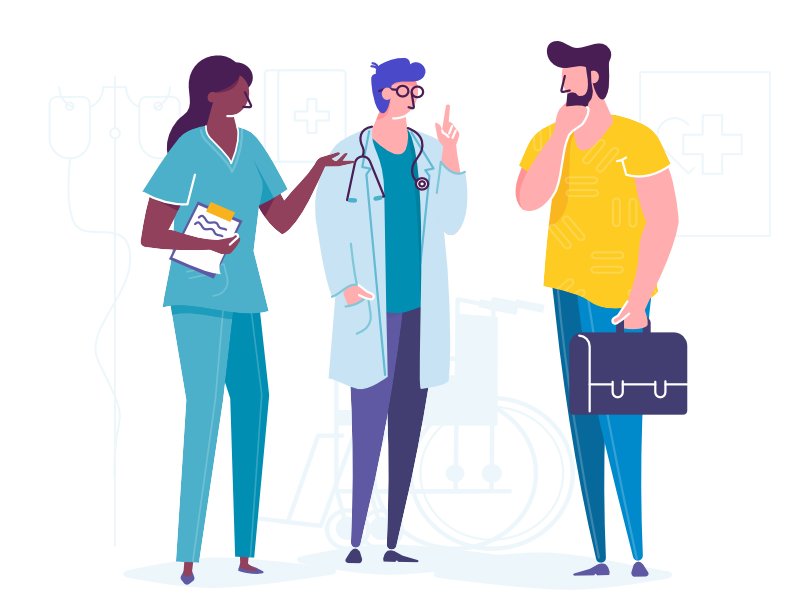 In hospital doctor health wheelchair simple webpage hospital illustration vector