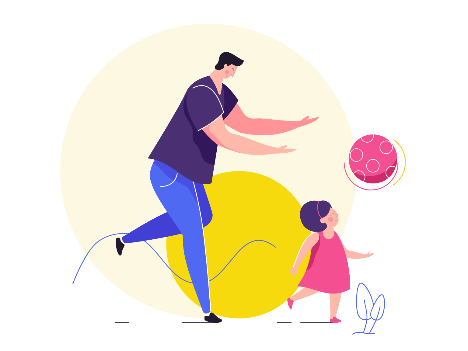 Family Time father child simple flat affinity designer illustration character vector