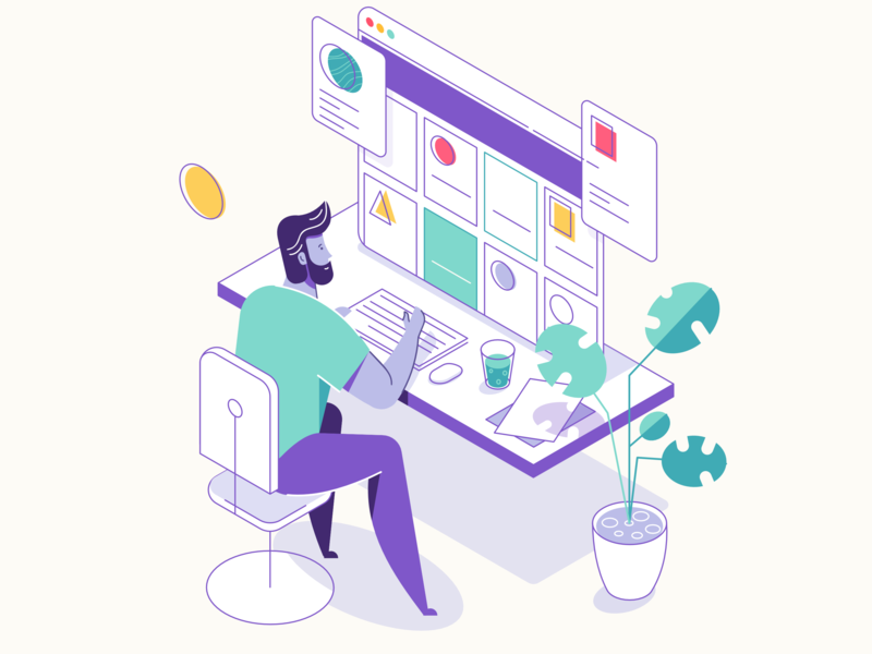 At work simple flat affinity designer clean character illustration vector