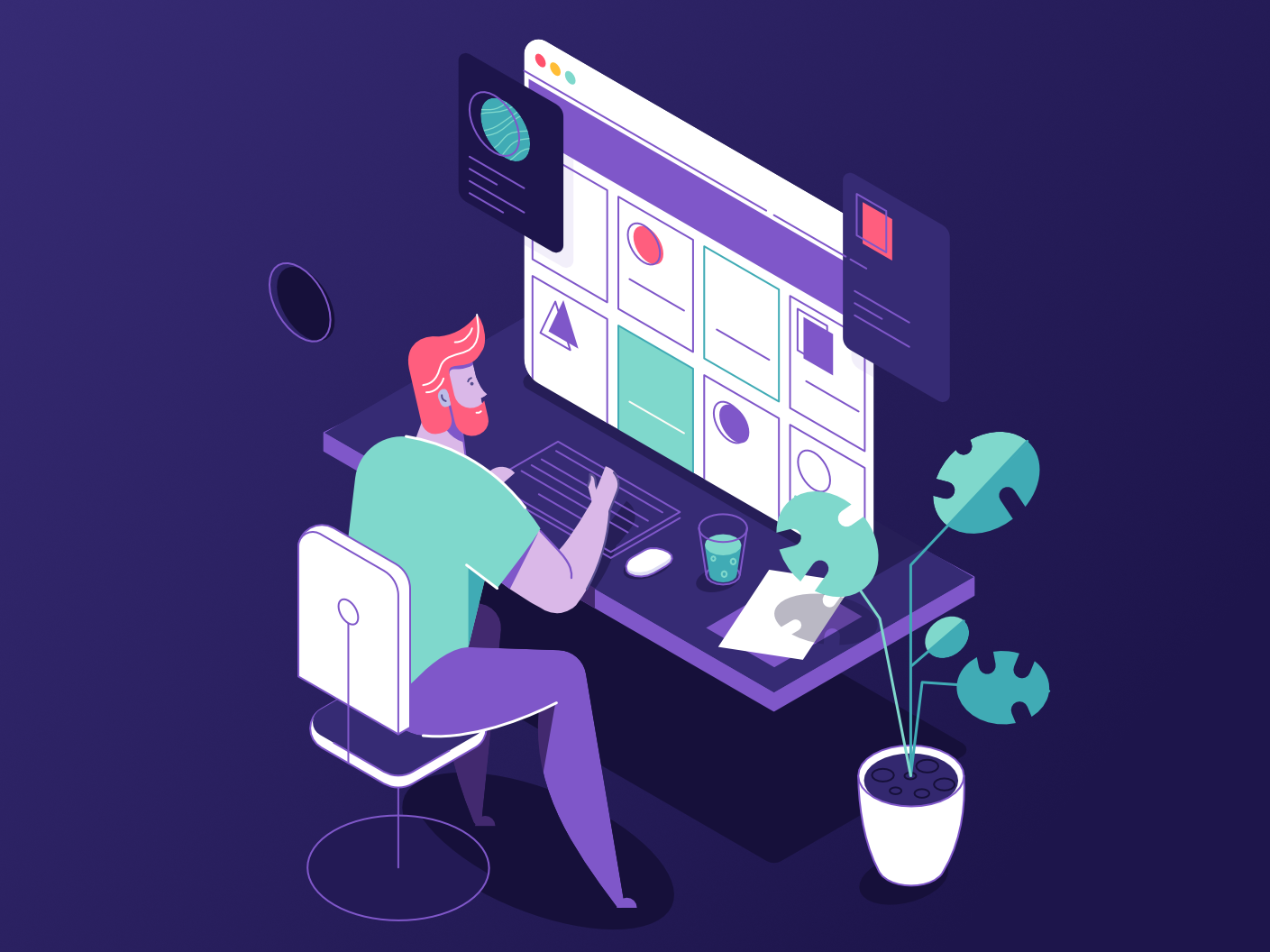 At work - Dark version simple affinity designer man clean vector character illustration