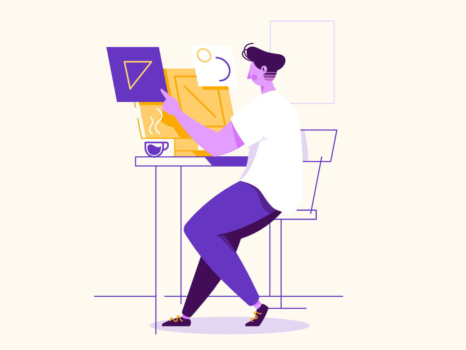 At the computer man affinity designer clean simple character illustration vector