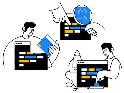 Build / Test / Deploy app developer code flat man clean simple character illustration