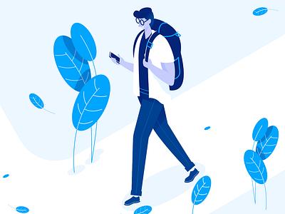 Traveler isomatric travelers affinity designer man clean simple character illustration vector