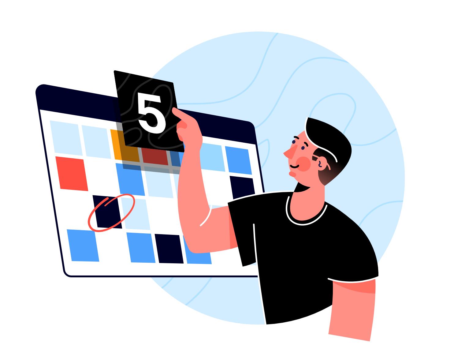 Calendar webpage affinity designer man clean simple character illustration vector