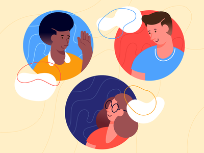 In cloud webpage affinity designer clean simple character illustration vector