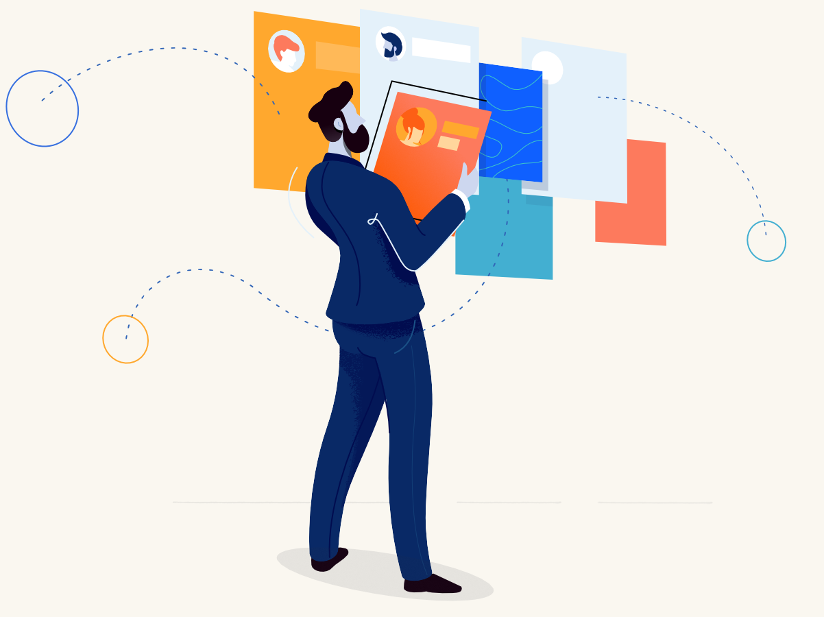 Headhunter pattern webpage man affinity designer clean illustration character vector