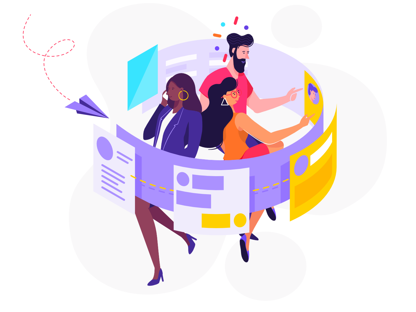 Collaboration isometric hr pattern man woman affinity designer character illustration vector