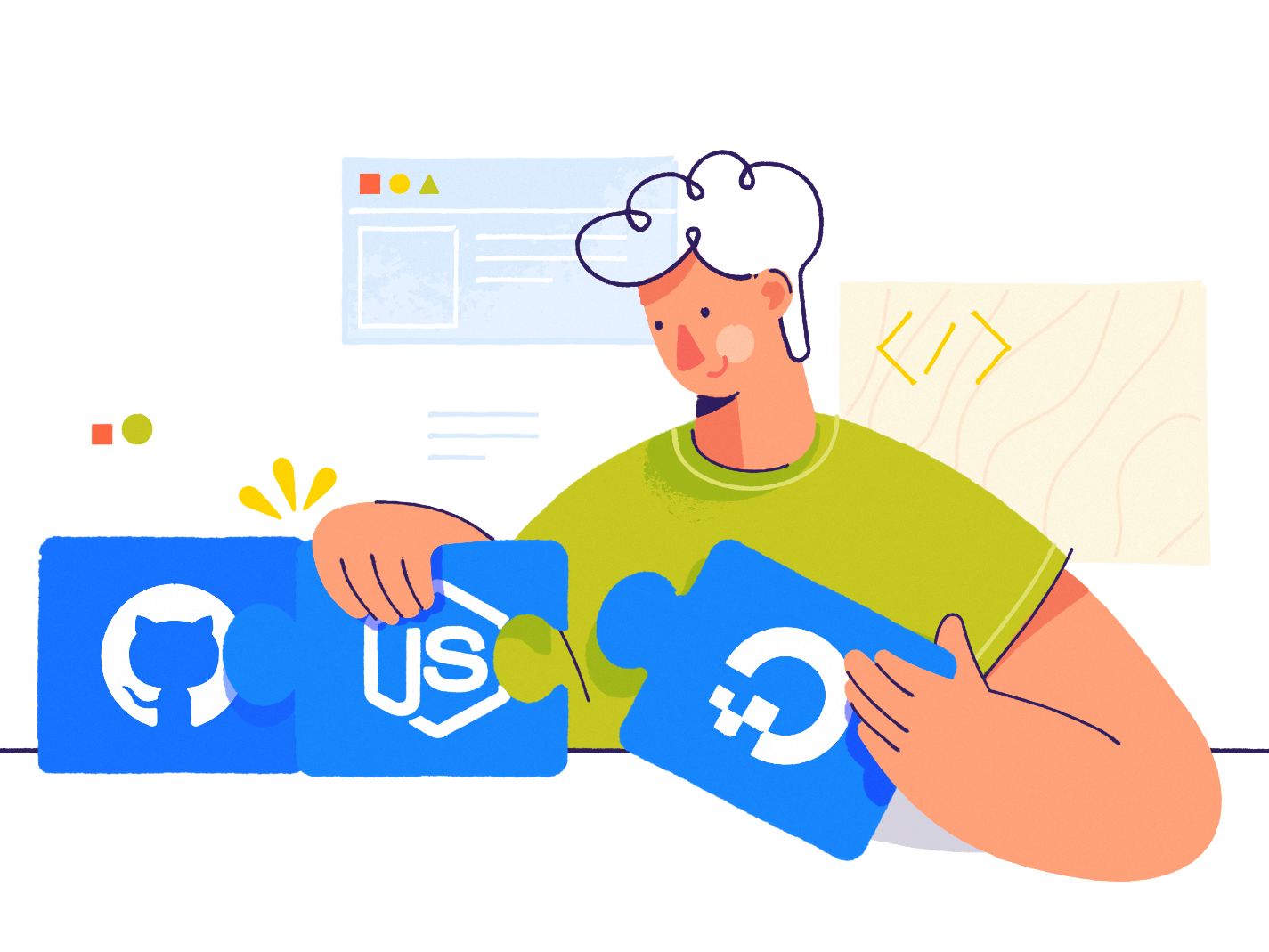 Continuous Delivery git developer pattern webpage man affinity designer clean simple character illustration vector