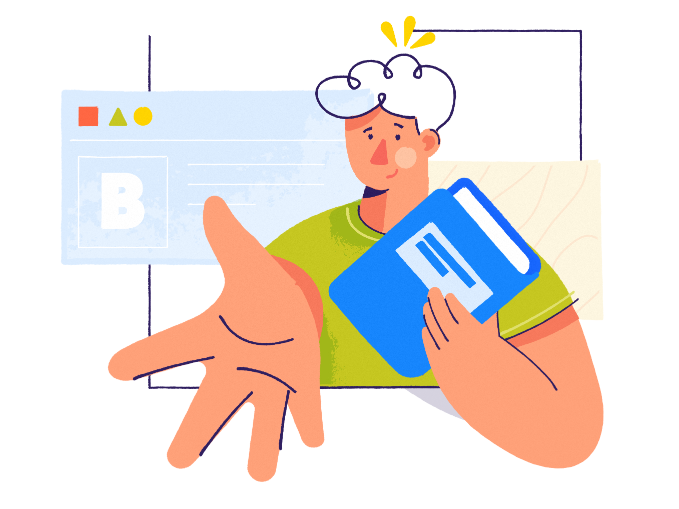 Tak a bet webpage pattern man affinity designer simple character illustration vector