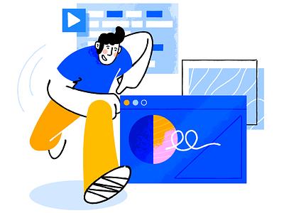 Fast deployment webpage pattern flat man affinity designer simple illustration vector