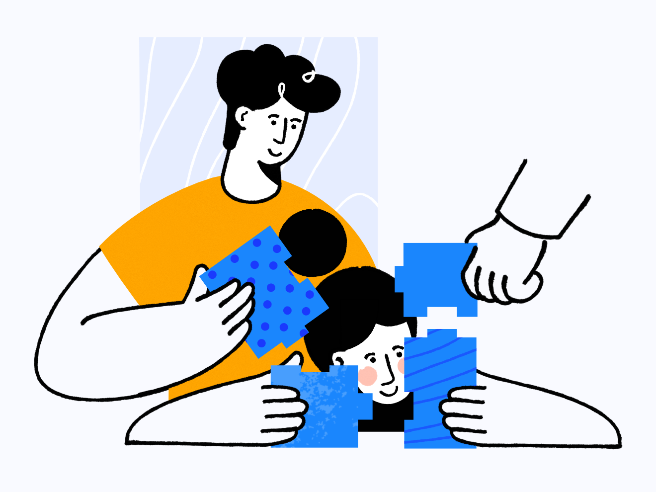 Teamwork teamwork webpage woman man affinity designer clean character illustration vector