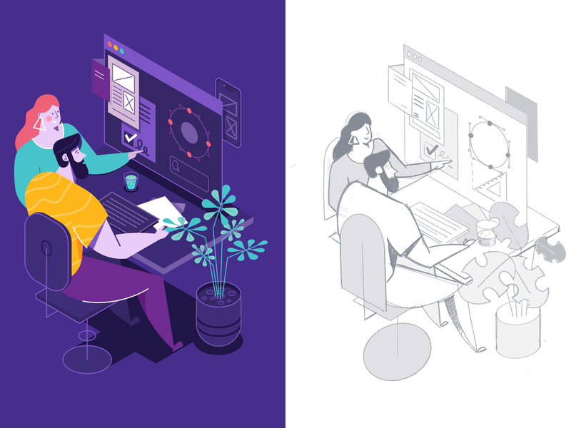 My workflow developer ui isometric woman man affinity designer simple character illustration vector